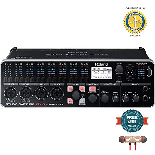 Roland UA-1610 Studio Capture USB Audio Interface includes Free Wireless Earbuds - Stereo Bluetooth In-ear and 1 Year Everything Music Extended Warranty