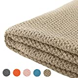 Treely 100% Cotton Knitted Throw Blanket for Couch Chair Bed Home Decorative, Soft & Cozy Knit Throw Blanket(50'x60', Khaki)