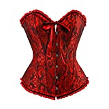 frawirshau Women's Lace Up Boned Overbust Corset Bustier Bodyshaper Top Black Red XL