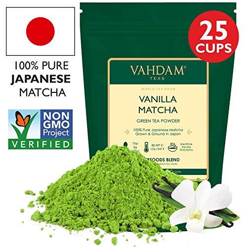 VAHDAM, Vanilla Matcha Grüner Tee | 100{e13af1c738095a2423a0f8e893c8d5011e4ffbd3a3097bfea3830ad18c36ad30} REINER japanischer Herkunfts-Matcha-Teepulver | 137x ANTI-OXIDANTEN | Grüner Tee zur Gewichtsreduktion und zur täglichen Entgiftung | Japans SUPER FOOD