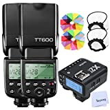 Godox 2pcs TT600 HSS 1/8000S 2.4G Wireless GN60 Flash Speedlite Built in Godox X System Receiver with X2T-C Trigger Transmitter Compatible Canon Camera