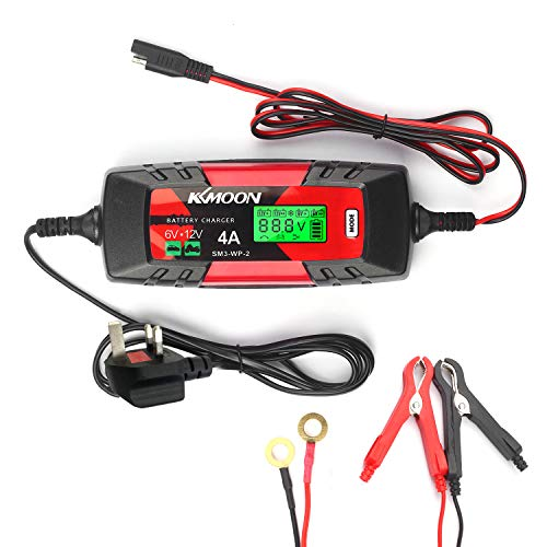Car Battery Charger Battery Charger & Maintainer 6V/12V 4Amp Intelligent Automatic Battery Charger with LCD Screen Pulse Repair Charger for Cars Motorcycles Boat and More UK Plug