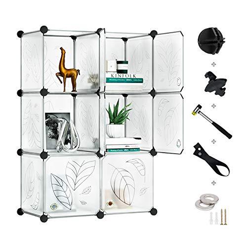 Greenstell Armadietto Modulare a 6 Cubi con Ante, Armadio a Cubi Componibile in Plastica Fai-da-Te...