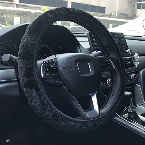 KAFEEK Elastic Long Microfiber Plush Steering Wheel Cover for Winter Warm , Universal 15 inch, Anti-Slip, Odorless, Black