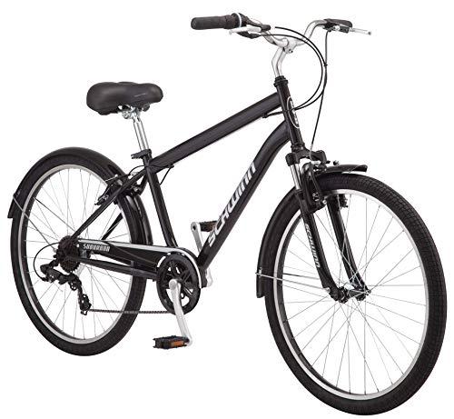Schwinn Suburban Mens Classic Comfort Bike, 26-Inch Wheels, 7 Speed Drivetrain, 18-Inch Steel Frame, Alloy Linear Hand Brakes, Black