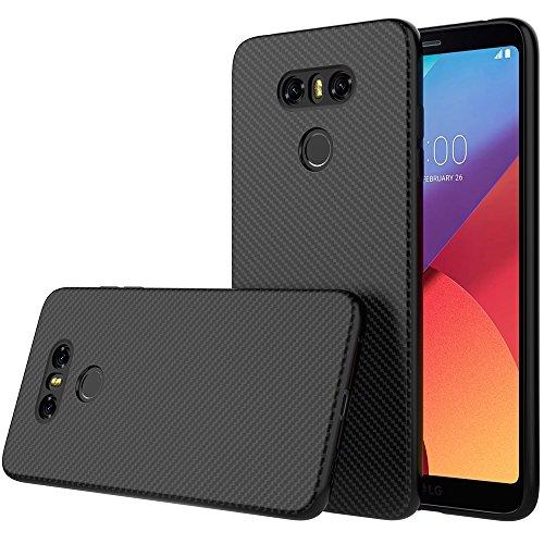 Peakally Cover per LG G6, [Fibra di Carbonio] Morbido Silicone Custodia Ultra Sottile per LG G6 [Anticaduta, Antiscivolo, AntiGraffio, Antiurto]-Nero
