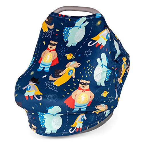 Multi Use Nursing Breastfeeding Cover Scarf, Car Seat Canopy by Busy Monkey, Shopping Cart, High Chair, Stroller and Carseats Covers for Boy and Girl-Infinity Stretchy Shawl, Baby Shower - Superheroes