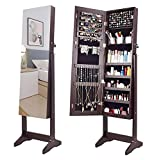 AOOU Jewelry Organizer Jewelry Armoire,Full Length Mirror Dressing Lockable Jewelry Cabinet, with Large Storage Capacity, 3 Angles Adjustable, Brown