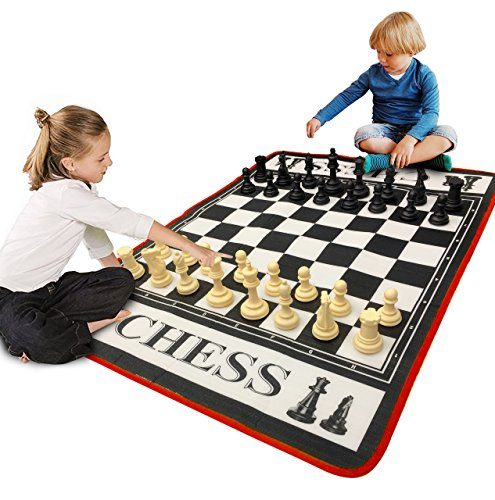 EasyGo Giant 3' X 4' Mat Chess Game  Indoor Outdoor Family Game  Lawn Game Piece Range from 3-6' Tall