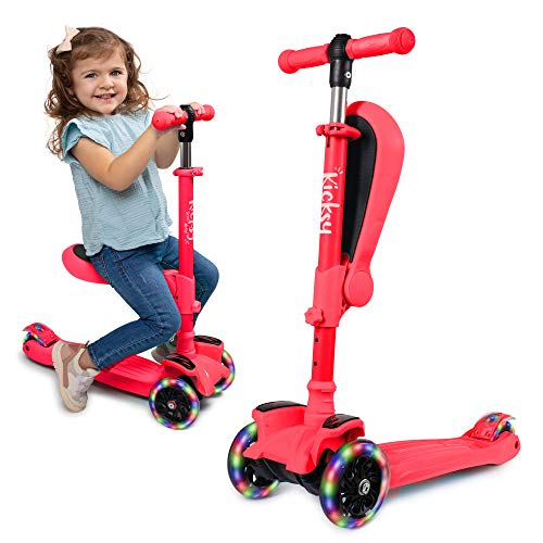 KicksyWheels Scooters for Kids - 3 Wheel Toddler Scooter for Boys & Girls - Toddlers and Kids Toys for 1 Year Old and Up - Three Heights & Light Up Wheels (Peach Pout, with Seat)