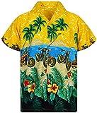 V.H.O. Funky Chemise Hawaiienne, Moto, Jaune, XL