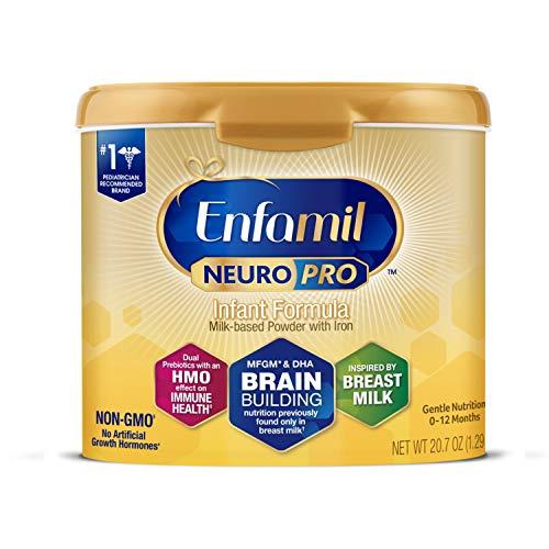 Enfamil NeuroPro Baby Formula Milk Powder Reusable Tub, 20.7 oz -Brain Building Nutrition Inspired by Breast Milk-Omega 3 DHA, Non-GMO, MFGM, Prebiotics, Iron & Immune Support (Package May Vary)