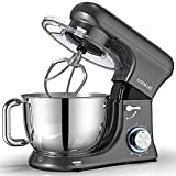 COOKLEE Stand Mixer, All-Metal Series 6.5 Qt. Kitchen Electric Mixer with Dishwasher-Safe Dough Hooks, Flat Beaters, Whisk & Pouring Shield Attachments for Most Home Cooks, SM-1515, Pearl Grey