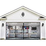 Magnetic Garage Door Screen 9x7FT for One Car Garage with Heavy Duty Mesh Curtain and Full Frame Hook&Loop Fits Garage Door Size up to 108'-83' (Black)