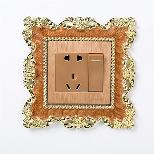 JOOFFF Lichtschalter Aufkleber Abdeckung, Rose quadratische Form Kunstharz Aufkleber Home Decor Zubehör Versorgung, Kaffee Farbe