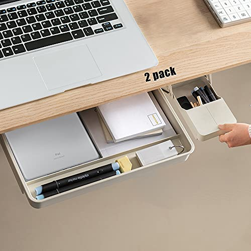 Under Desk Drawer Storage Organizer-2 Pack (Large and Small)