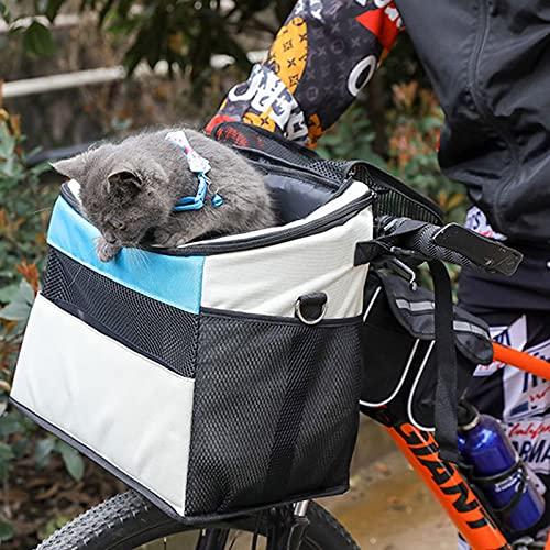 Cesta para Bicicleta Plegable,Transportin Perro Mochila Gato,Desmontable Cesta De Manillar De Bicicleta,Lavable Bolsa De Transporte para Pequeña Mascota Perro Y Compras