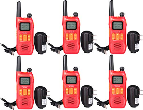 Arcshell Rechargeable Two-Way Radios with Earpiece 6 Pack UHF 400-470Mhz Walkie Talkies Li-ion Battery and Charger Included