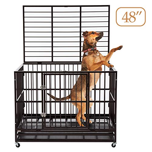 Sliverylake Dog Cage Crate Kennel Heavy Duty Double Door Pet Cage with Metal Tray Wheels Exercise Playpen (48', Sliver)