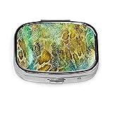 Pastillero - Pastilleros personalizados de piel de serpiente, pastillero de metal plateado rectangular portátil, espacio compacto, pastilleros para