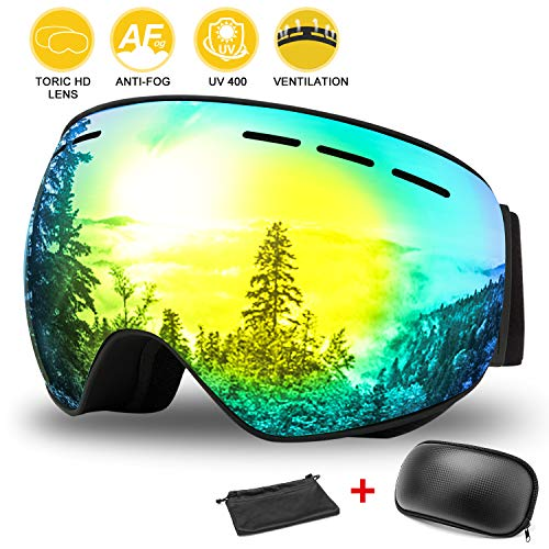 WOTEK Gafas de esquí, Antivaho, Lentes Dobles protección UV, Gafas a...