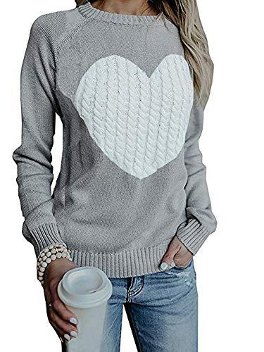 Maglione Donna Felpa Ragazza Sweatshirt Oversize Pullover Invernali Primavera Manica Lunga Casual Moda Girocollo Tops Regalo Ideale per Natale (Medium, Grigio)