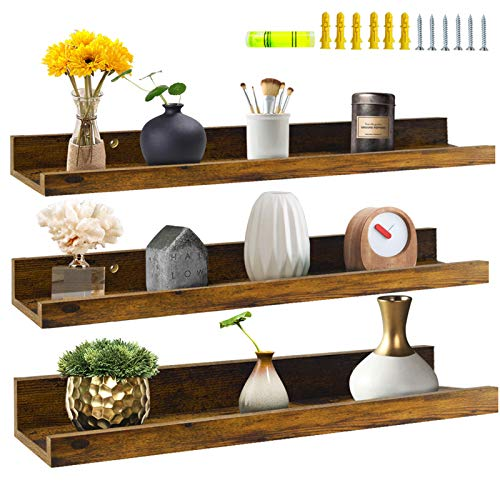 Giftgarden 24 Inch Floating Shelves Wall Mounted Set of 3, Rustic Large Wall Shelves Picture Ledge Shelf for...