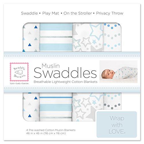 SwaddleDesigns Cotton Muslin Swaddle Blankets, Set of 4, Blue Starshine Shimmer (Parents Picks Award Winner)