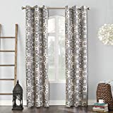 Sun Zero Nepal Global Medallion Print Blackout Grommet Curtain Panel, Linen, 40' x 84'