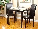 Rattan Wicker Furniture Dining Kitchen Set 3 pc Classic Square Table and 2 Chairs Fallabella Solid Wooden in Espresso Black Finish