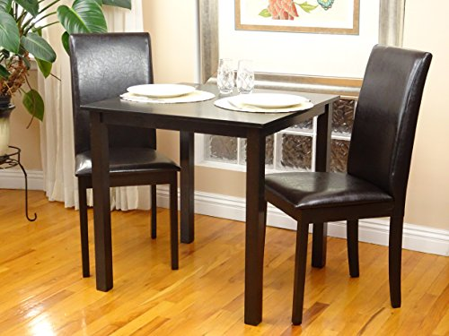 3 Pc Dining Room Dinette Kitchen Set Square Table and 2 Fallabella Chairs Classic Style Solid Wood Espresso Finish Rattan Wicker Furniture