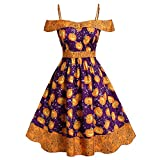 HebeTop Women's Casual A Line Halloween Party Pumpkin Prints Flared Cocktail Dress Purple
