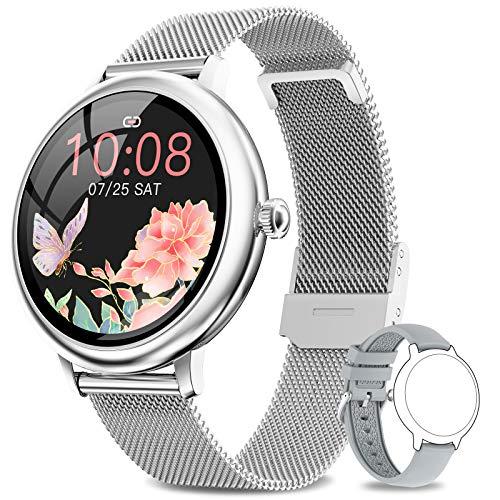 NAIXUES Smartwatch Donna, Orologio Fitness IP67 Impermeabile Smart Watch da Donna Notifiche Messaggi Contapassi Calorie Cardiofrequenzimetro da Polso Activity Tracker per Android iOS (Argento)