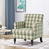 Christopher Knight Home 305562  Evete Tufted Fabric Club Chair, Green Checkerboard, Dark Brown