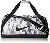 NIKE Brasilia Medium Duffle - All Over Print, White/Black/Black, Misc