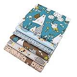6 scampoli di tessuto, motivo orsi e pesci, 40 x 50 cm, cotone twill, per patchwork, fai da te, cucito, quilting, per bambini e neonati
