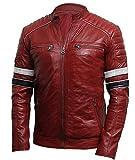 Men's Cafe Racer Red Retro Biker Brando Stripes Rider Vintage Motorcycle Quilted Leather Jacket