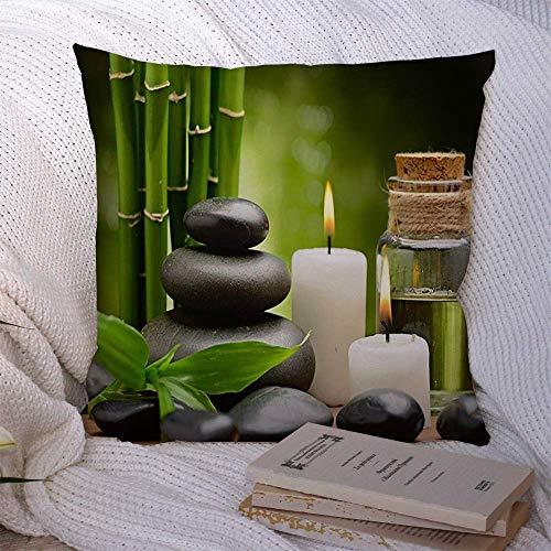 Fodera per cuscino decorativo in poliestere Equilibrio Benessere Zen Pietre di basalto Massaggio...