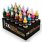 24 Botellas de Pintura 3D Textil y Tejido - Aprieta sobre los Tubos (29mL) para Extender Pintura para Ropa (Algodn) - Personaliza Camisetas, Ropa y Decora Cuadros, Madera, Vidrio