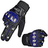 Auboa Alloy Steel Leather Hard Knuckle Touchscreen Motorcycle Motorbike Powersports Windproof Scooter Snowmobile Skiing Cycling Gloves (M,(Leather) Blue)