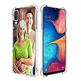 SHUMEI Coque personnalisée pour Samsung Galaxy A20E avec photo personnalisée, absorption des chocs, coque transparente en TPU