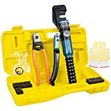 BLIKA 10 Ton Hydraulic Wire Battery Cable Lug Terminal Crimper Crimping Tool with 9 Dies and Cable Cutter, for 1/8' to 3/16' Stainless Steel Cable Railing Fittings, Wire Swaging Tool