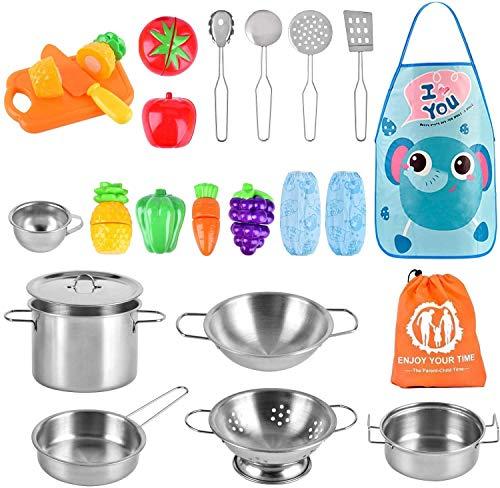 AMOYEE Giocattoli da Cucina per Bambini, 25 Pezzi Cucina Pentole Giocattolo per Bambini Taglio Cibo Verdura Acciaio Inossidabile Accessori Cucina, per Bambini dai 3 Anni in su