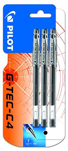 Pilot G-Tec-C4 - Bolígrafo roller de gel (3 unidades), color negro
