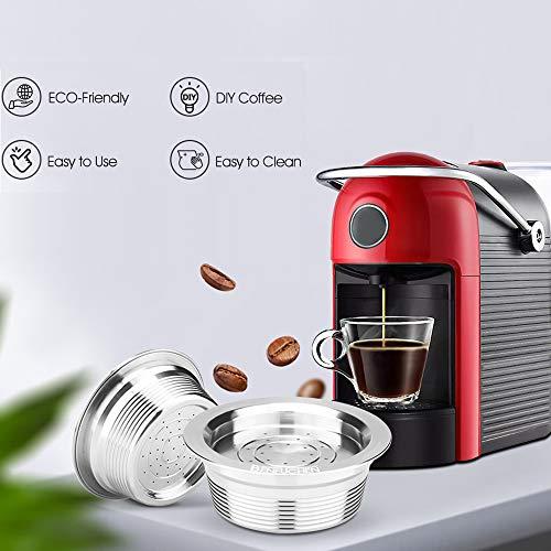 i Cafilas Capsule da caffè Ricaricabili per Lavazza a Modo Mio Jolie/Espria Machine, Capsule di caffè Riutilizzabili in Acciaio Inox con 1 Pennello, 1 Cucchiaio (Cápsula)
