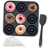 Chefast Silicone Donut Pan Kit - Large Non-Stick Doughnut Baking Molds with 5 Pastry Bags and Spatula - Freezer, Oven, and Dishwasher-Safe, Mold Tray for 9 Full-Size Donuts, Bagels, and More