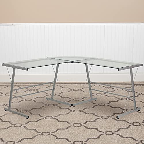 Flash Furniture L-Shaped Desk 83.5' Computer Corner Desk,...