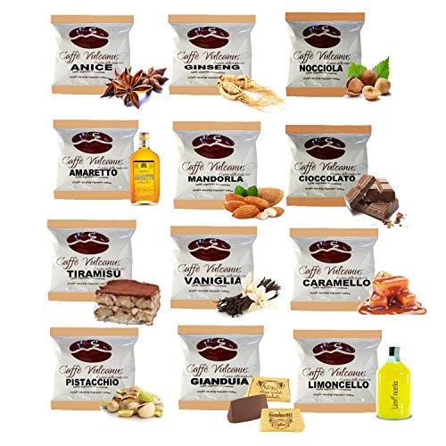 Caffè Vulcanus - Kit assaggio 120 cialde compostabili ESE44 di caffè aromatizzati - Degustazione di 12 gusti di caffè aromatizzato