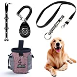 STARROAD-TIM Dog Training Set Adjustable Puppy Doorbells for Dogs Training Bag Whistle to Control Stop Barking Pet Trainer Dog Training Clicker (Black- 4Pcs)