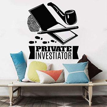Détective privé autocollant mural détective enquêteur décalcomanie enquêteur décor à la maison empreinte digitale tuyau chambre salon décoration_ comme indiqué
